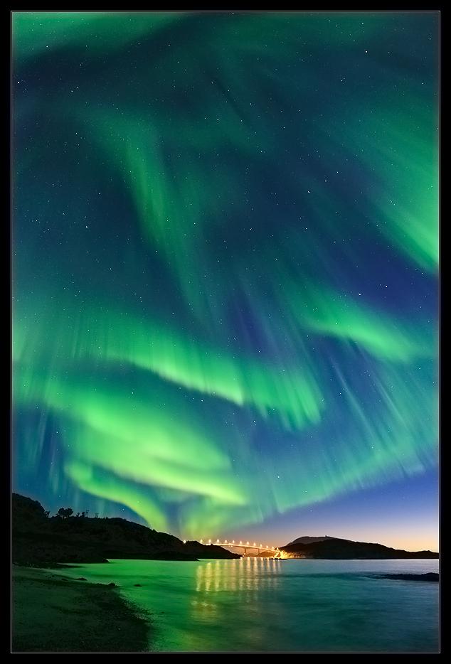 Nordlyse över Tromsö den 8 sept. 2010.