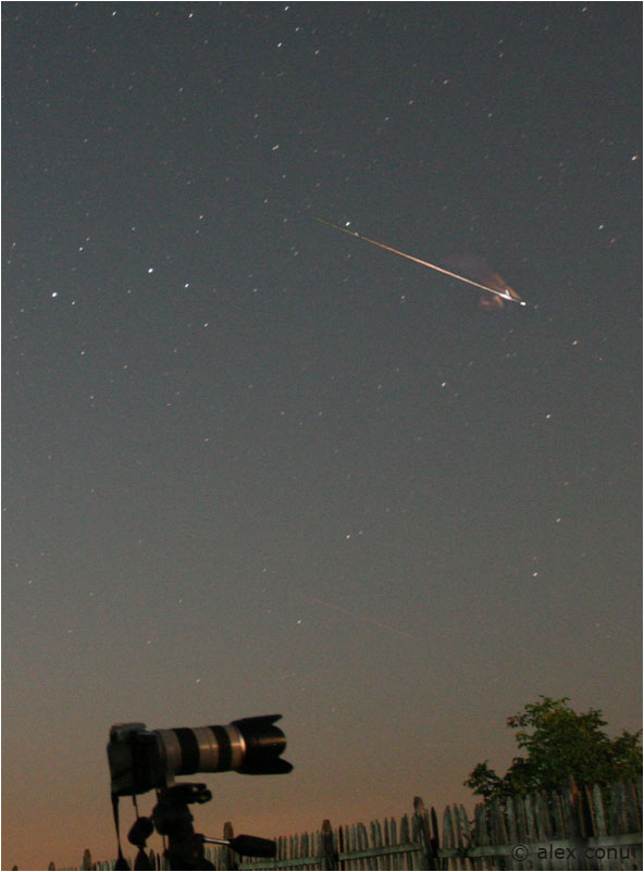 A Perseid meteor photographed in 13 August 2008 by Alex Conu of  Pauleasca, Romania